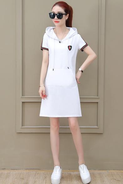 Womens Fashion Hoodie Short Sleeve 3-Stripe Pockets Midi Swing Sweatshirt Dress