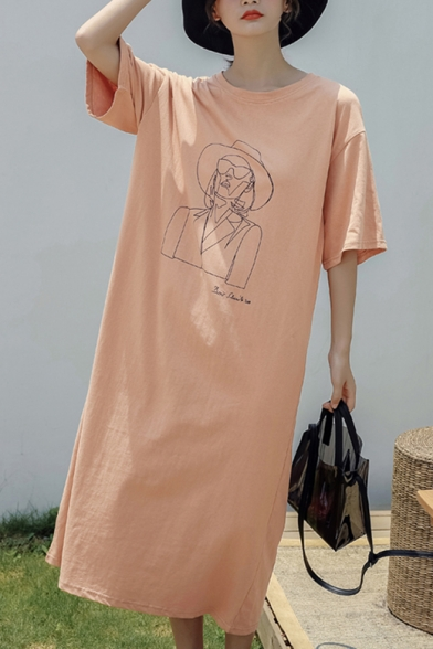 Womens Fashion Round Neck Short Sleeve Letter Character Print Loose Shift T-Shirt Maxi Dress