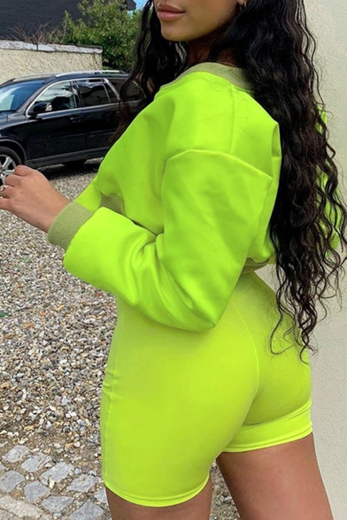 Womens Fluorescent Green Long Sleeve Patch Velcro Stand Collar Cropped Jacket