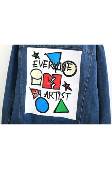 Womens Funny Cartoon Letter EVERYONE IS AN ARTIST Loose Leisure Regular Fit Button Denim Jacket