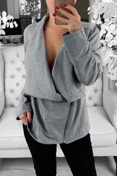 Womens New Fashion Simple Plain Long Sleeve Cowl Neck Side Zip Up Sweatshirt Jacket