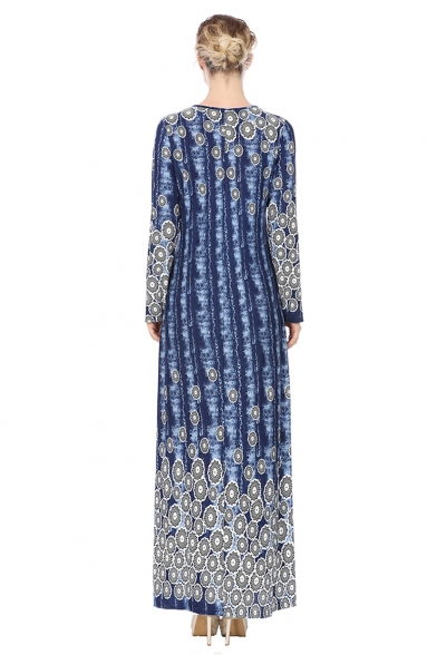 Womens New Stylish Round Neck Long Sleeve Floral Print Dyed Sheath Column Boho Maxi Dress