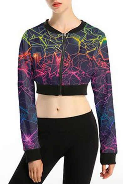 Womens New Trendy Long Sleeve Zip Front Galaxy Printed Cropped Sweatshirts