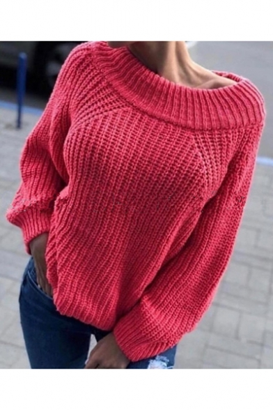 Womens Off-Duty Plain Boat Neck Raglan Sleeve Boxy Ribbed Knit Sweater, Watermelon;white;gray;dusty pink, LM557063