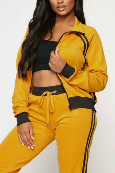 Womens Plain Athletic Style Collared Long Sleeve Zipper Front Coat Track Pants Two Piece Set