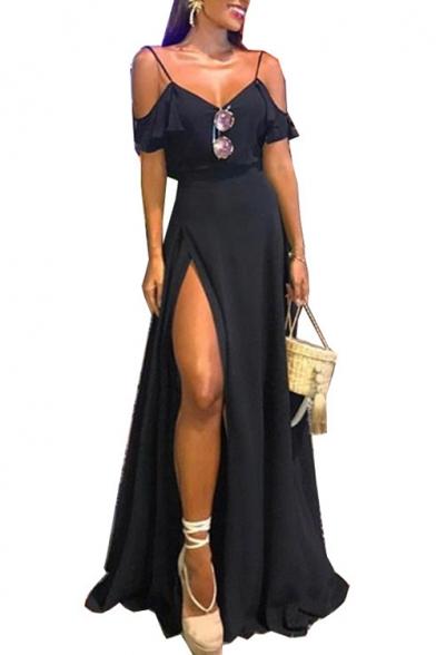 Womens Sexy V-Neck Sleeveless Ruffles Slit Backless Plain A-Line Cami Maxi Dress