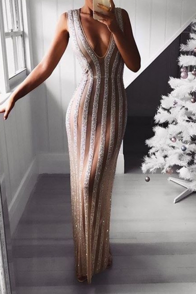 Womens Sexy V-Neck Sleeveless Sequined Striped Hybrid White Sheath Maxi Dress