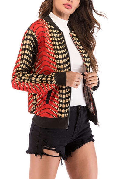 Womens Stylish Unique Ombre Color Stand Collar Long Sleeve Zip Up Black and Red Jacket