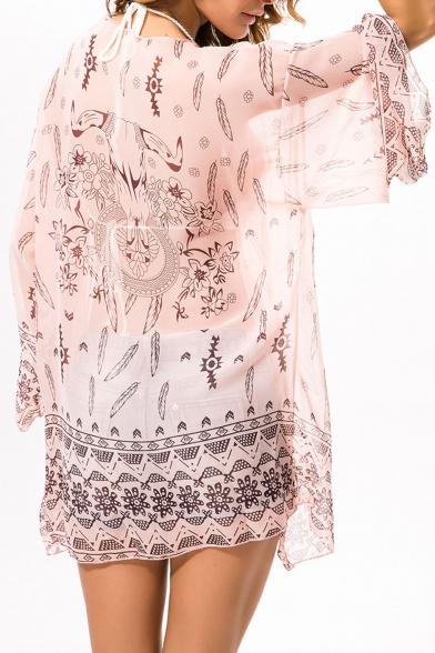 Womens Summer Trendy Printed Long Sleeve Holiday Beach Bikini Cover Up Kimono Blouse