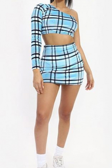 Womens Trendy Check Printed One Shoulder Long Sleeve Crop Tee with Mini Bodycon Skirt Two-Piece Set, Red;light blue, LM553113