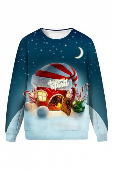 Christmas New Fashion Funny Trump Snowflake 3D Printed Round Neck Long Sleeve Red Sweatshirt
