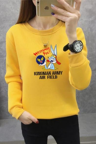 Cute Cartoon Rabbit KINGMAN ARMY AIR FIELD Letter Printed Round Neck Regular Pullover Sweatshirt, Black;blue;pink;red;white;purple;yellow;light gray;khaki;brick red, LM557146
