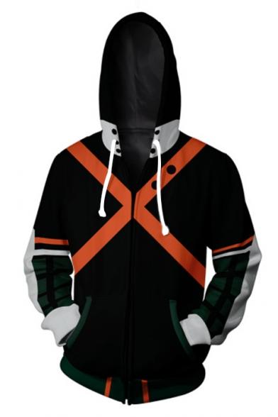 Cross Pattern Mans Long Sleeve Hoodie Casual Pocket Hooded Sweatshirt