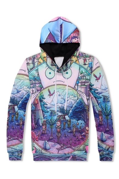Funny Comic All-over Printed Purple Long Sleeve Pullover Casual Drawstring Hoodie