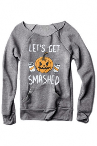 Grey Long Sleeve Halloween LET'S GET SMASHED Letter Pumpkin Printed Pocket Front Pullover Sweatshirt