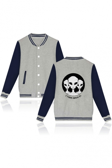 Hot Popular Cool Storm Area Alien Pattern Rib Stand Collar Button Down Fitted Baseball Jacket
