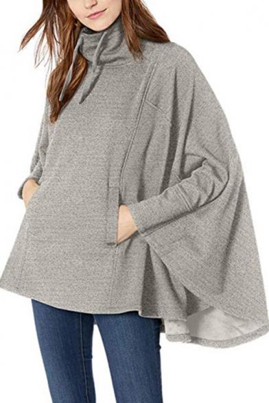 Hot Popular Irregular Long Sleeve Stand Collar Gray Cape Pullover Sweatshirt With Pockets
