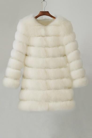 Hot Sales Elegant Fashion Long Sleeve White Plain Long Faux Fur Coat