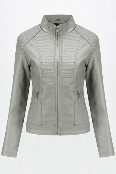 Hot Street Style Solid Plain High Neck Long Sleeve Zip Front Cropped PU Motorcycle Jacket