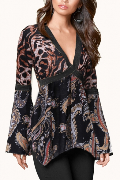 Hot Stylish Classic Long Sleeve Plunge V Neck Leopard Patched Floral Print Basics T-Shirts LM555654 фото