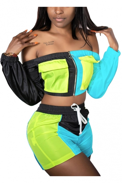 Long Sleeve Off Shoulder Cropped Tee with Drawstring Waist Shorts Colorblock Patch Sport Two-Piece Set for Girls