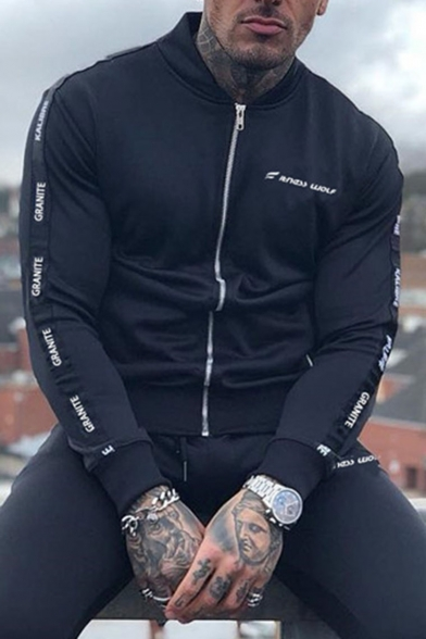 Men's Hot Fashion Letter Print Long Sleeve Stand-Collar Zip Up Casual Sports Jacket