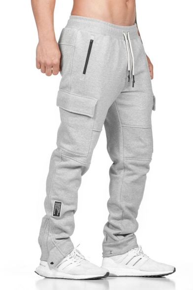 Men/'s Fashion Cargo Pocket Drawstring Hem Jersey Jogger Sweatpants 112 GENTLER