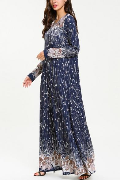Moslem Round Neck Long Sleeve Floral Print Pinstripe Navy Swing Maxi Dress