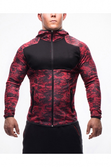 New Arrival Popular Camouflage Print Long Sleeve Zip Up Hooded Casual Sports Jacket