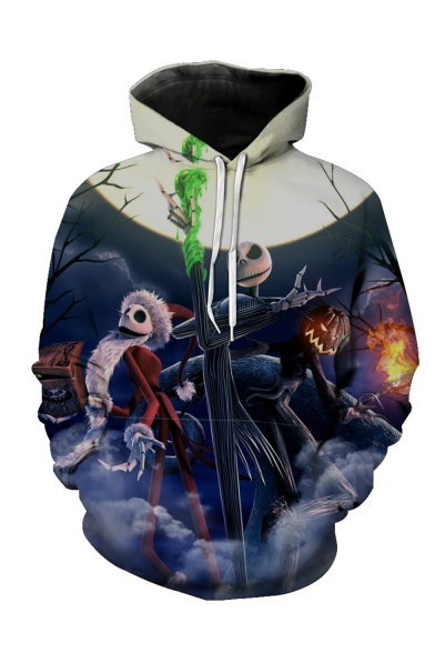 New Fashion Halloween Jack Skellington Pumpkin 3D Printed Long Sleeve Unisex Navy Drawstring Hoodie