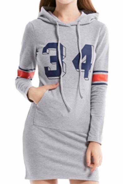 New Fashion Hoodie Long Sleeve Letter Print Pockets Casual Gray Sheath Sweatshirt Midi Dress