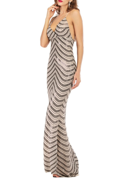 New Fashion V-Neck Sleeveless Backless Sequined Striped Cami Floor Length Dress