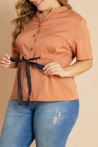 New Stylish Bow Tie Front Stand Collar Short Sleeve Plain Button Down Plus Size Brown Shirt