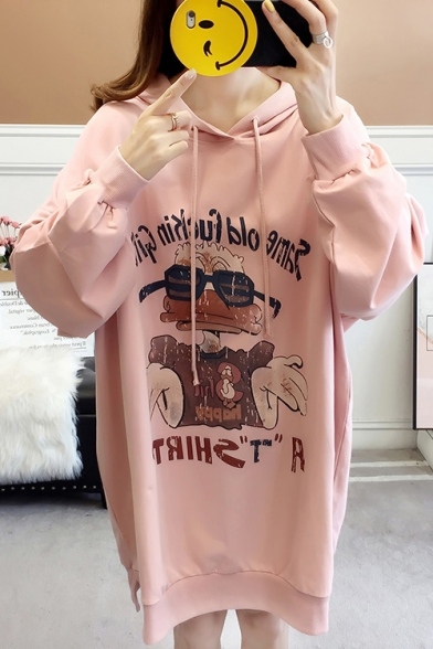 New Stylish Letter Cool Duck Pattern Long Sleeves Slit Side Pullover Hoodie