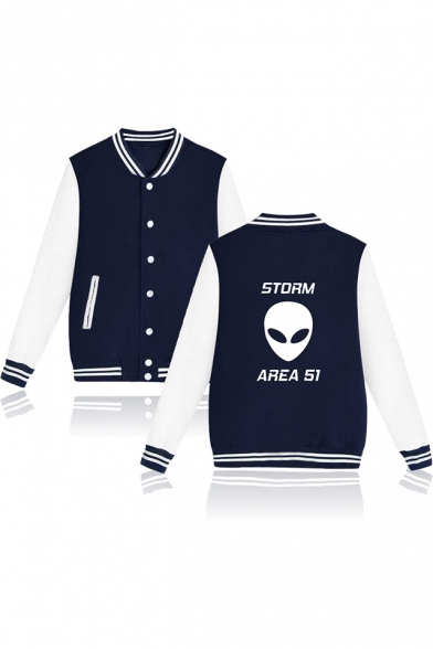 New Trendy Fashion Storm Area Alien Printed Stand Collar Button Front Varsity Jacket
