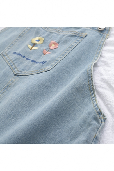 Summer Hot Fashion Pocket Back and Front Floral Embroidered Mini Denim Overall Dress
