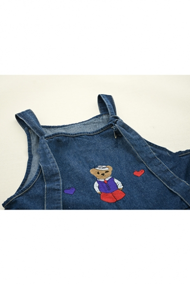Summer New Arrival Heart Bear Embroidered Ankle Length Denim Overall Jeans