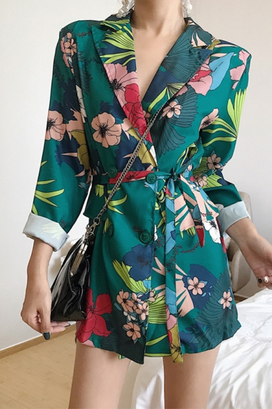 Vintage Floral Printed Single-Breasted Tied Waist Longline Blazer