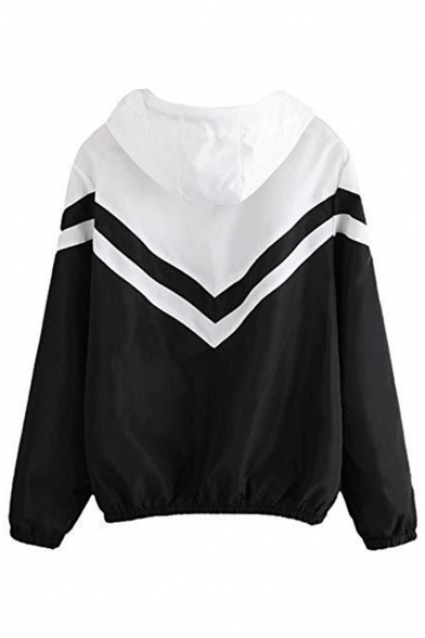 Women's Color Block Chevron Stripe Drawstring Hooded Zip Up Sport Jacket
