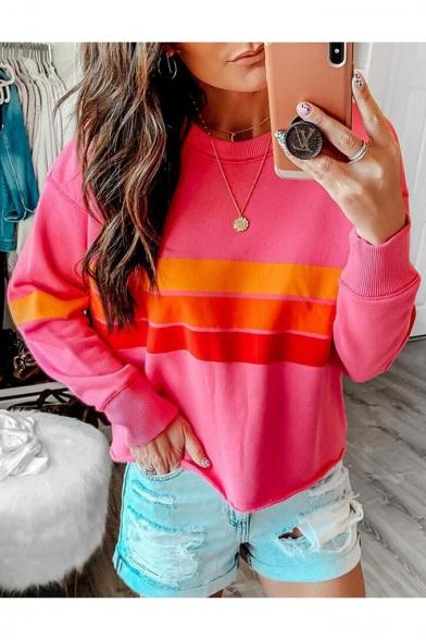 Women's Color block Stripe Print Round Neck Long Sleeve Pullover Sweatshirt