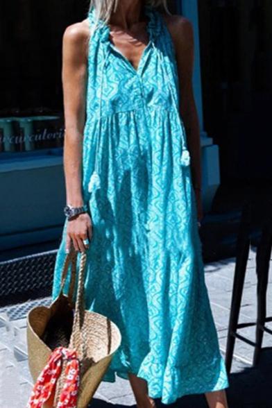Women's Fashion Halter Sleeveless Tassel Tribal Print Sashes Vintage Maxi Swing Dress