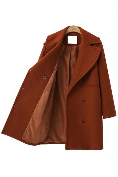 Women's Winter Fashion Notched Lapel Collar Longline Double Pocket Shearling Overcoat