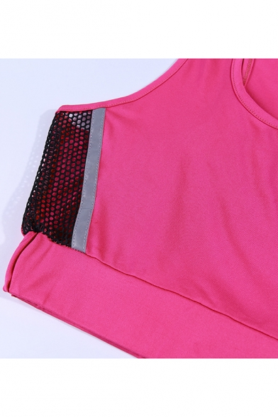 Womens Athletic Mesh Panel Side Scoop Neck Crop Tank with Fitted Shorts Sports Co-ords