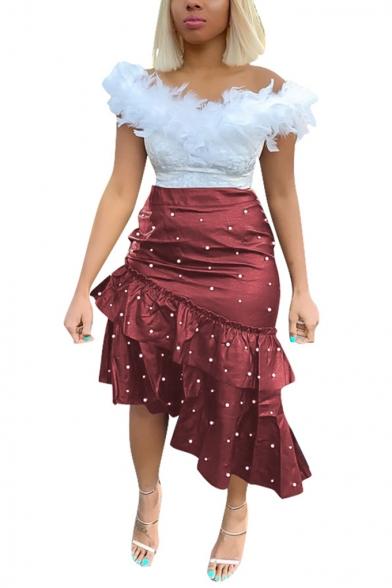 Baycheer / Womens Chic Fancy Beading Embellished Midi Asymmetrical Bodycon Ruffled Skirt