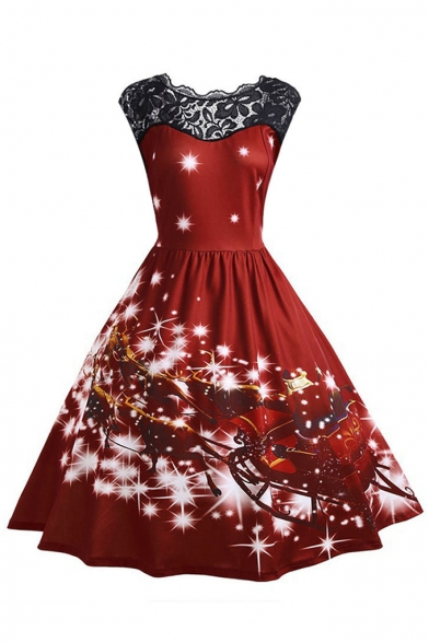 Womens New Fashion Round Neck Sleeveless Christmas Theme Hollow Lace Pleated Flare Dress