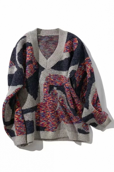 Womens Off-Duty Patchwork Print V-Neck Long Sleeve Chenille Knitted Sweater, Blue;green;navy, LM557077