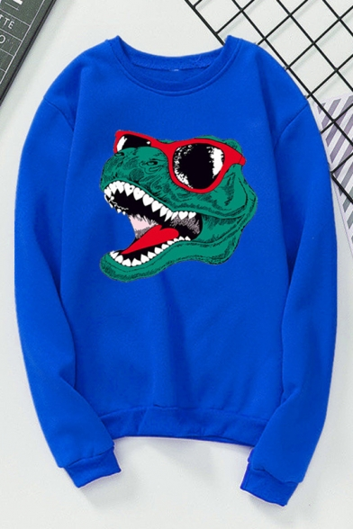 Cartoon Glasses Dinosaur Printed Round Neck Long Sleeves Pullover Sweatshirt