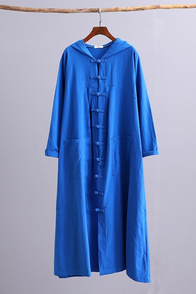 Classic Solid Color Vintage Frog Button Front Longline Hooded Witch Cape Coat with Pockets