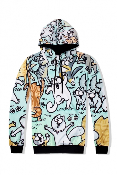 Cute Cartoon Cat All-Over Printed Light Green Long Sleeve Casual Pullover Hoodie