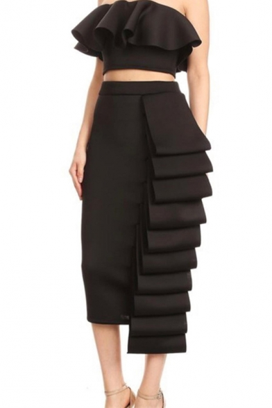 Designer Unique Simple Plain Ruffled Crop Bandeau Top with Layered Maxi Shift Skirt Two-Piece Set